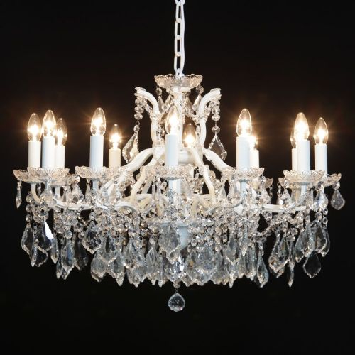 Antique French Cut Glass Crackle White Chandelier 12 arms